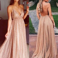 Evening Dress Backless Champagne Long Glitter Prom Dress