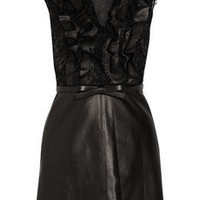 Valentino|Belted leather and lace dress|NET-A-PORTER.COM