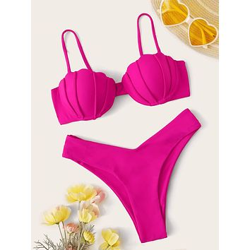 Shell Shaped Underwire Top With High Cut Bikini Set
