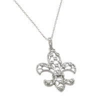 .925 Sterling Silver Open Fleur De Lis  Necklace
