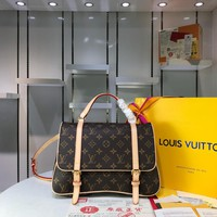 Kuyou Gb2981 M51158  Louis Vuitton Lv Monogram Backpack Brown Inclined Shoulder Bag 30*21cm