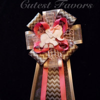 Pink and gray Elephant baby shower corsage