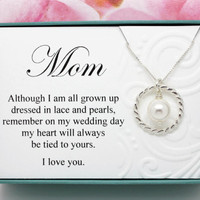 Gift for Mom gift from bride necklace Sterling silver Swarovski crystal pearl necklace bridal party gift for Mother of the Bride