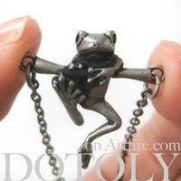 Baby Froggy Frog Animal Necklace in Silver
