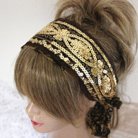 Gold headband, Gold processing Headband, Sequin headband, Wedding headband, Handmade gold headband, Unique headband, Costume hair band