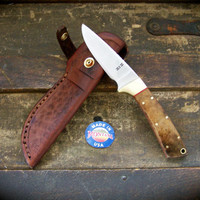 Custom Drop Point Skinning Knife, Hunting Knife, EDC Knife with Bay Laurel Handle Scales and Custom Tooled Leather Sheath