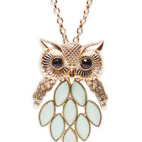 Faceted Owl Pendant Necklace | Wet Seal