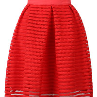 Red Mesh Stripe Mini Skirt