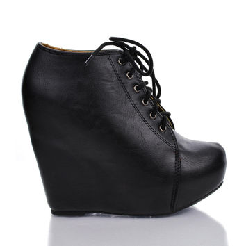 Jello Pointed Toe Lace Up Ankle Platform High Hidden Wedge Heel Booties