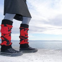 Recycled leg warmers - Red black leg warmers with small pockets