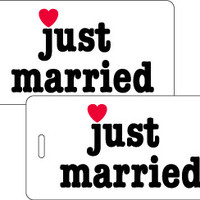 Just Married 2 pc Luggage Tag Set