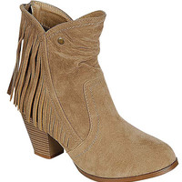SIDE FRINGE DETAILED SLOUCHY SUEDE BOOTIE ** PRE ORDER