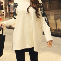 Light Yellow Cut Out Laced Long Sleeve Sweatshirt