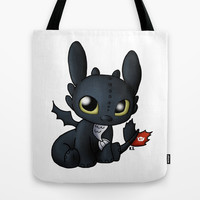 Chibi Toothless Tote Bag by Katie Simpson