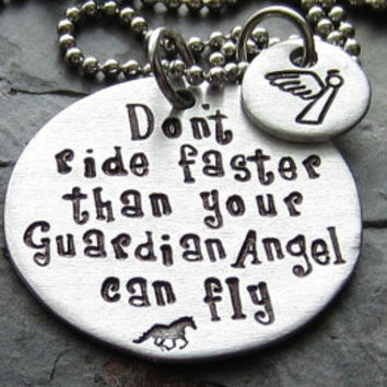 Guardian Angel-Hand Stamped Horse Quote Necklace- Equestrian-Horse Lover-