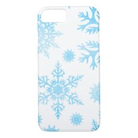 Winter Watercolor Snowflakes Blue Turquoise iPhone 7 Case