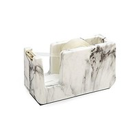 METAN White Marble Desk Top Tape Dispenser Gun, Heavy Duty Tape Dispenser with Weighted Nonskid Base for Office Tape 1 Inch Core, ABS Material with Metal Sawtooth Blade