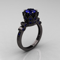 Exclusive Classic Armenian 14K Black Gold 1.0 Blue Sapphire Bridal Solitaire Ring R405-14KBGBS