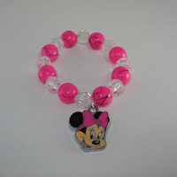 Minnie Mouse charm chunky bracelet, childrens jewelry, bracelets for girls, bracelets, disney bracelet for girls, gift set, simple and cute