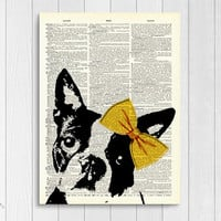 Portrait Boston Terrier Vintage Upcycled Book Page Wall Art Print/ Dog Black and White with Yellow Bowtie Painting Unframed | Ambercurio