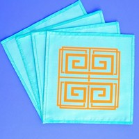 Blush Label Catherine Greek Key Cocktail Napkins - Aqua
