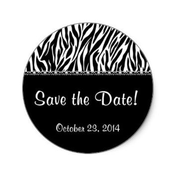 Black and White Zebra with Lace Save the Date Stickers from Zazzle.com