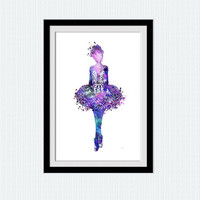 Ballerina poster, Ballerina print, purple watercolor art, little girl dance poster, printable art, nursery decor, watercolor print, W9