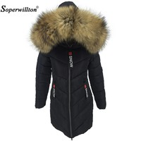 2017 New Black Red Winter Collection Women Coat Jacket Warm Woman Parka Jacket with a Real Raccoon Fur Winter Thick Coat Women