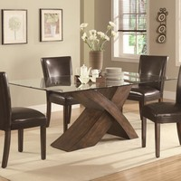 103051 Nessa Large Scaled X Base Dining Table with Glass Top by Coaster