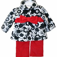 Clearance Sale New Baby Girls 3 pc Christmas Daisy Fleece Outfit 3M to 24M