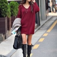 MP-Fashion — Oversized Maroon V-Neck Simple Long Sweater