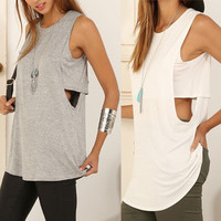 Fashion Hot Popular Summer Women Hollow Bandage Sexy Backless Solid Erotic T-Shirt _ 7374