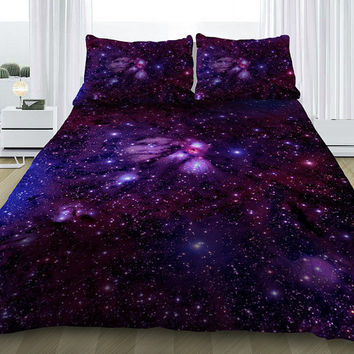 Purple galaxy bedding set purple galaxy duvet cover with cotton sheets and pillowcases all sizes can be made