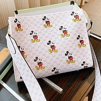 GUCCI x Disney Trending Women Shopping Bag Leather Shoulder Bag Crossbody Satchel White