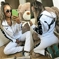 PUMA Popular Women Casual Print Long Sleeve Hoodie Jacket Coat Pants Trousers Two-Piece White