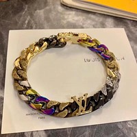 LV Louis Vuitton Letter Bracelet Necklace Trend Colorful Tide Wild Men and Women Bracelet Necklace