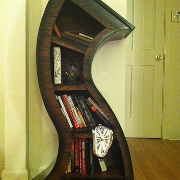 4ft Curved Bookshelf Oak Stained/Blk by WoodCurve on Etsy