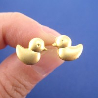 Rubber Ducky Duck Shaped Stud Earrings in Gold