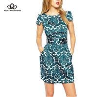 2017 summer new round neck short sleeve vintage green Court floral print slim fit double pockets women's dress for party