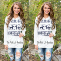 Christmas Elk Printed Causal Hooded Sweater B0014415