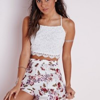 Missguided - Cross Back Lace Crop Top White