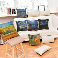 2016 New Cotton Linen Vincent van Gogh Painting Printing Cushion Throw Decorative Pillow Sofa Office Back Cushion 45x45cm 1pc