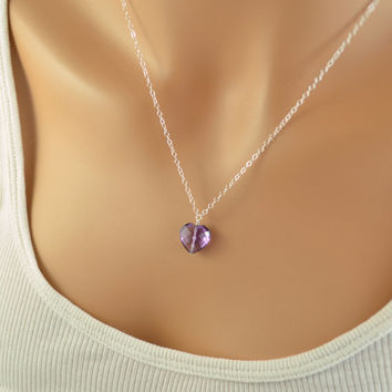 NEW Valentines Day Necklace, Amethyst Gemstone,  Heart Shaped Pendant, February Birthstone Jewelry, Sterling Silver, Free Shipping