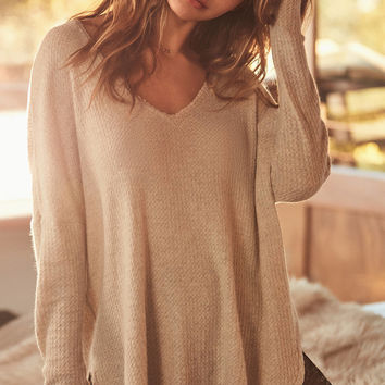 Out From Under Oversized Cozy Thermal V-Neck Top | Urban Outfitters