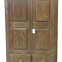 Vintage British Colonial teak Almirah Rustic Old Wood Armoire Cabinet Antique Indian Furniture