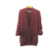 vintage oversized dark reddish brown knit cardigan sweater // cable knit // size L