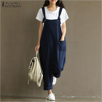 Rompers Womens Jumpsuits Vintage Sleeveless Backless Casual Loose Solid Overalls Strapless Playsuits