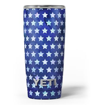 Blue Watercolor Stars - Skin Decal Vinyl Wrap Kit compatible with the Yeti Rambler Cooler Tumbler Cups