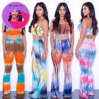 2018 Summer Plus Size 2 piece Set Women tie dye flare pants set
