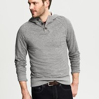 Snap Placket Hooded Pullover